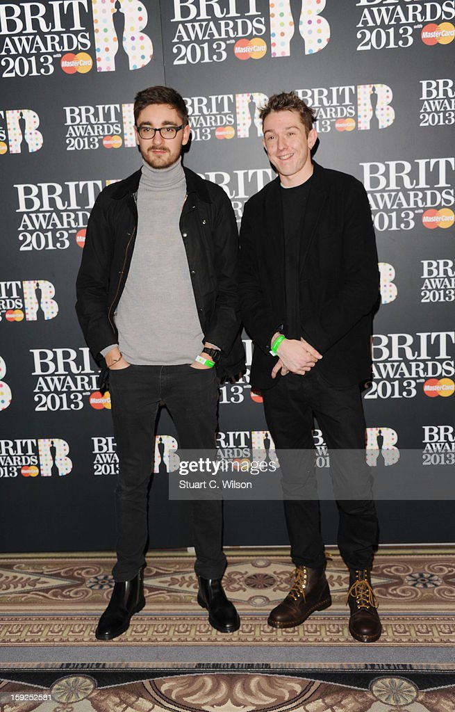 Gus Unger-Hamilton and Thom Green attends as the nominations for the BRIT Awards are announced at The Savoy Hotel on January 10, 2013 in London, England.