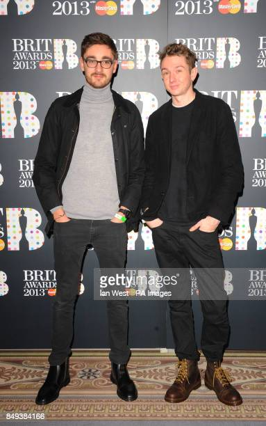 Gus UngerHamilton and Thom Green of quartet Alt J arrive at the Brit Awards 2013 nominations launch at the Savoy Hotel in London