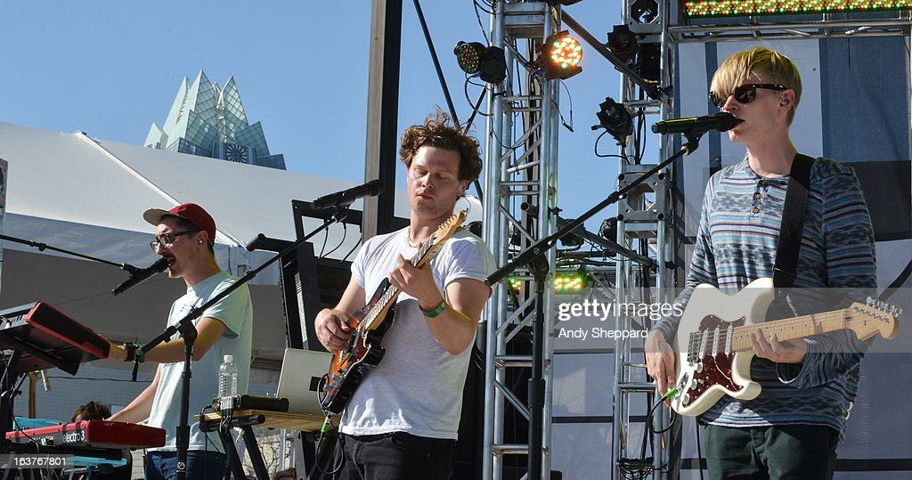 Gus Unger-Hamilton, Joe Newman and Gwil Sainsbury of the band Alt-J perform on stage for MTV Woodies Awards Event during Day 3 of SXSW 2013 Music Festival on March 14, 2013 in Austin, Texas.