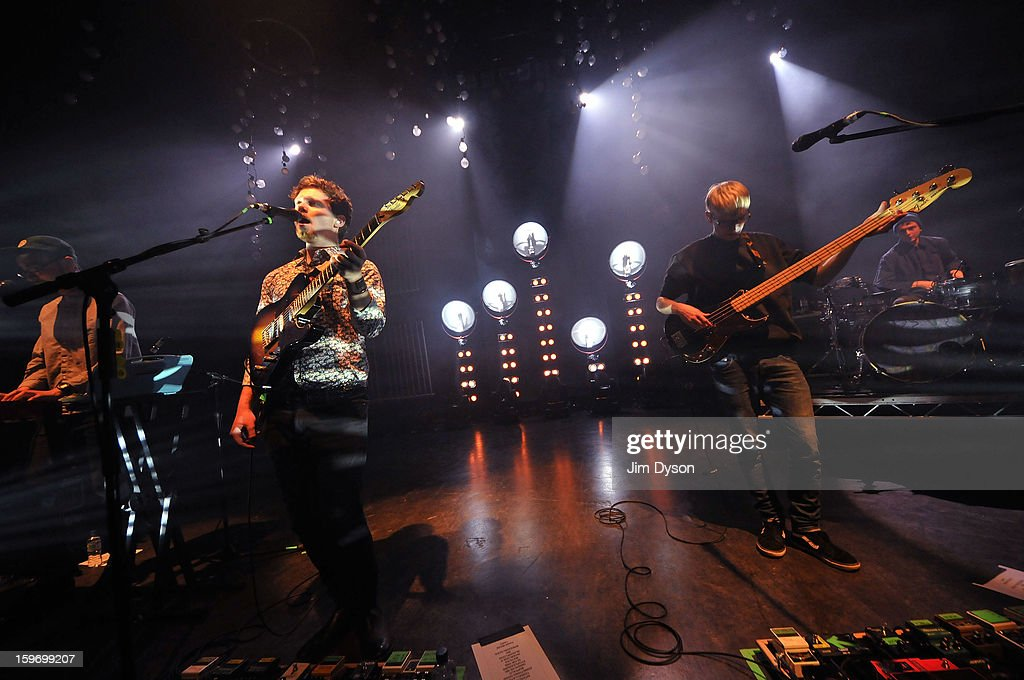 Gus Unger-Hamilton, Joe Newman, Gwil Sainsbury and Thom Green of Alt-J perform live on stage at Shepherds Bush Empire on January 18, 2013 in London, England.
