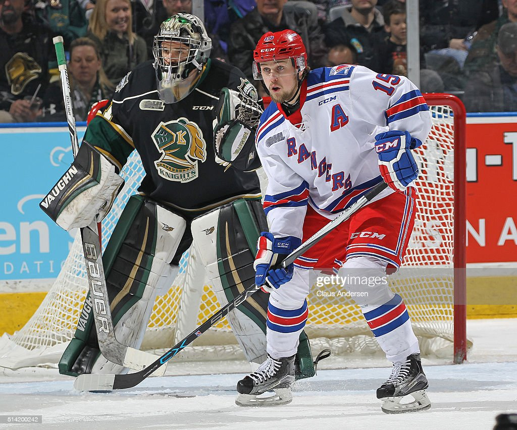 Gustaf Franzen #15 of the Kitchener Rangers looks for a shot to tip in front of Tyler Parsons #1 of the London Knights during an OHL game at Budweiser Gardens on March 6, 2016 in London, Ontario, Canada. The Knights defeated the Rangers 4-1.