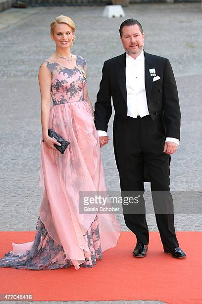 Gustaf Magnuson and his wife Victoria Magnuson attend the royal wedding of Prince Carl Philip of Sweden and Sofia Hellqvist at The Royal Palace on...