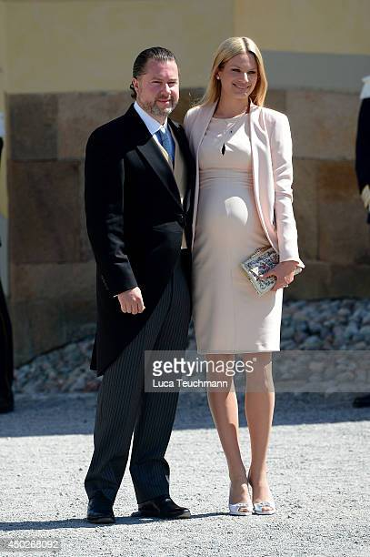 Gustaf Magnuson and Vicky Magnuson arrive for Princess Leonore's Royal Christening at Drottningholm Palace Chapel on June 8 2014 in Stockholm Sweden