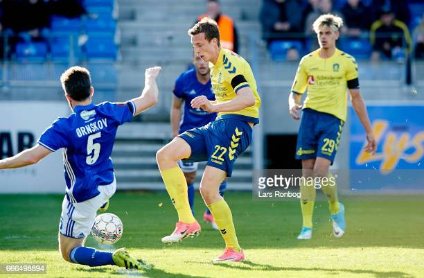 Gustaf Nilsson of Brondby IF and Martin Ornskov of Lyngby BK compete for the ball during the Danish Alka Superliga match between Lyngby BK and...