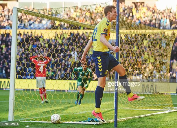 Gustaf Nilsson of Brondby IF celebrates after scoring their first goal during the Danish Alka Superliga match between Brondby IF and Sondejryske at...