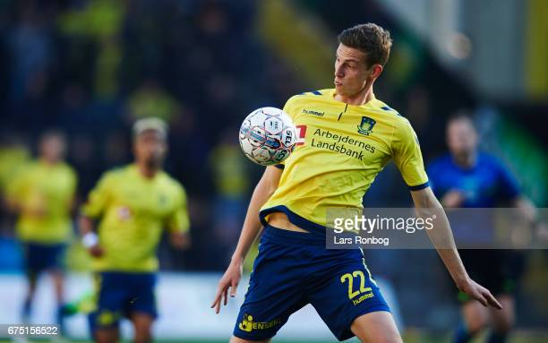 Gustaf Nilsson of Brondby IF controls the ball during the Danish Alka Superliga match between Brondby IF and Sondejryske at Brondby Stadion on April...