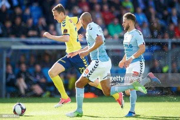 Gustaf Nilsson of Brondby IF controls the ball during the Danish Alka Superliga match between SonderjyskE and Brondby IF at Sydbank Park on May 21...