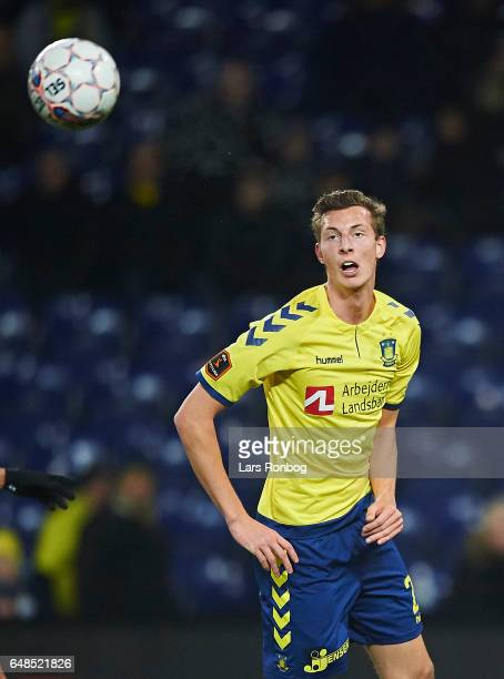 Gustaf Nilsson of Brondby IF in action during the Danish Alka Superliga match between Brondby IF and FC Nordsjalland at Brondby Stadion on March 5...
