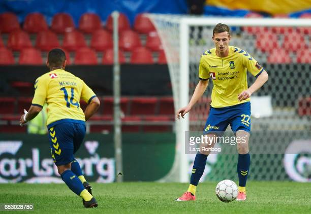 Gustaf Nilsson of Brondby IF in action during the Danish Alka Superliga match between FC Copenhagen and Brondby IF at Telia Parken Stadium on May 14...