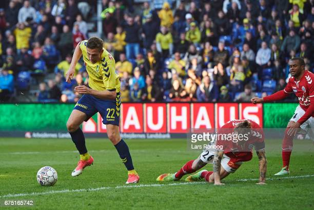 Gustaf Nilsson of Brondby IF scores the 11 goal during the Danish Alka Superliga match between Brondby IF and Sondejryske at Brondby Stadion on April...