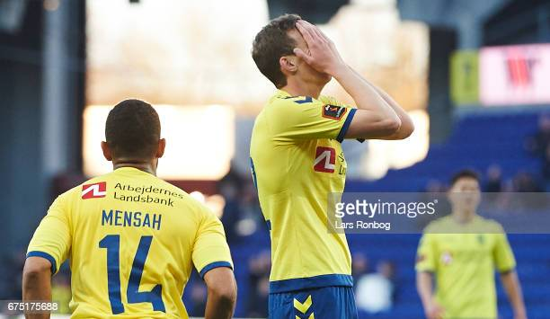 Gustaf Nilsson of Brondby IF shows frustration during the Danish Alka Superliga match between Brondby IF and Sondejryske at Brondby Stadion on April...