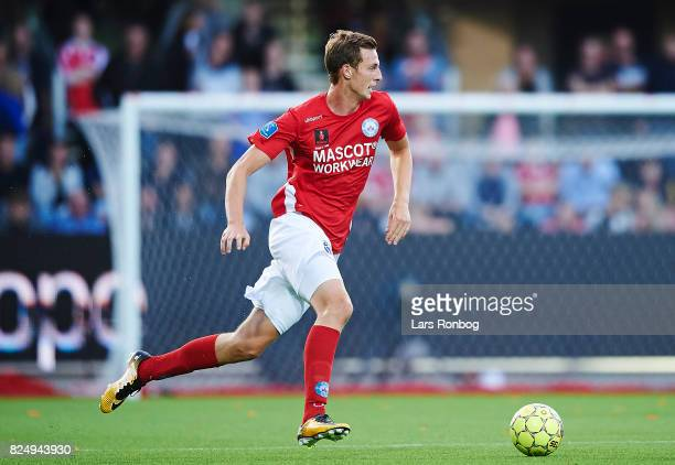 Gustaf Nilsson of Silkeborg IF controls the ball during the Danish Alka Superliga match between Silkeborg IF and AGF Aarhus at Jysk Park on July 31...