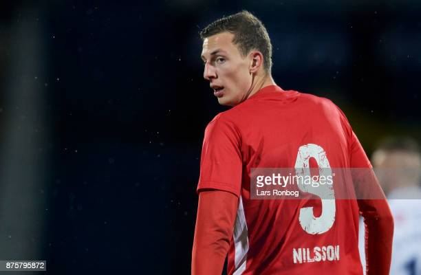 Gustaf Nilsson of Silkeborg IF looks on during the Danish Alka Superliga match between AGF Aarhus and Silkeborg IF at Ceres Park on November 18 2017...