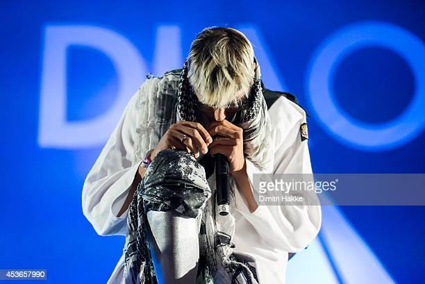 Gustaf Noren of Mando Diao performs on stage at Lowlands Festival at Evenemententerrein Walibi World on August 15 2014 in Biddinghuizen Netherlands