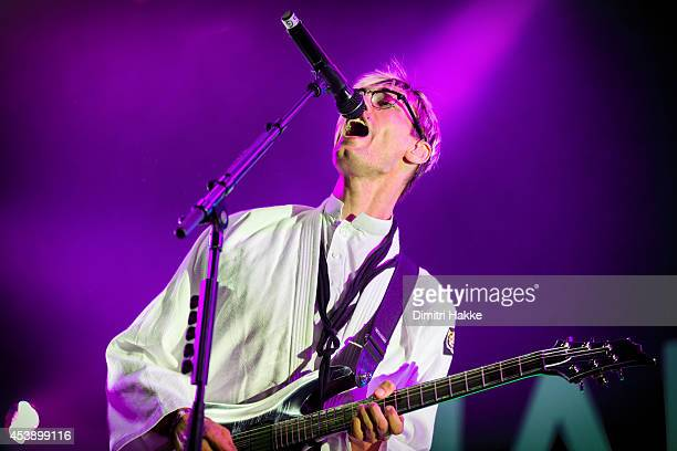 Gustaf Norén of Mando Diao performs on stage at Lowlands Festival at Evenemententerrein Walibi World on August 15 2014 in Biddinghuizen Netherlands