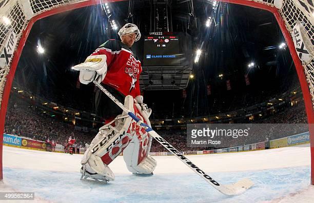 Gustaf Wesslau goaltender of Koelner Haie looks on during the DEL Ice Hockey match between Koelner Haie and Duesseldorfer EG at Lanxess Arena on...