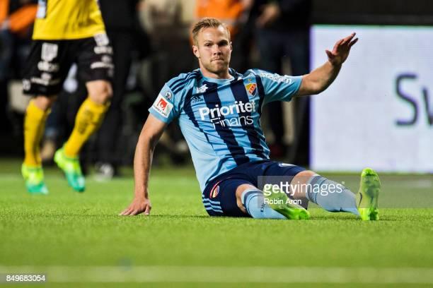 Gustav Engvall of Djurgardens IF dejected during the Allsvenskan match between IF Elfsborg and Djurgardens IF at Boras Arena on September 19 2017 in...