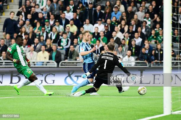 Gustav Engvall of Djurgardens IF shoots during the Allsvenskan match between Hammarby IF and Djurgardens IF at Tele2 Arena on June 4 2017 in...