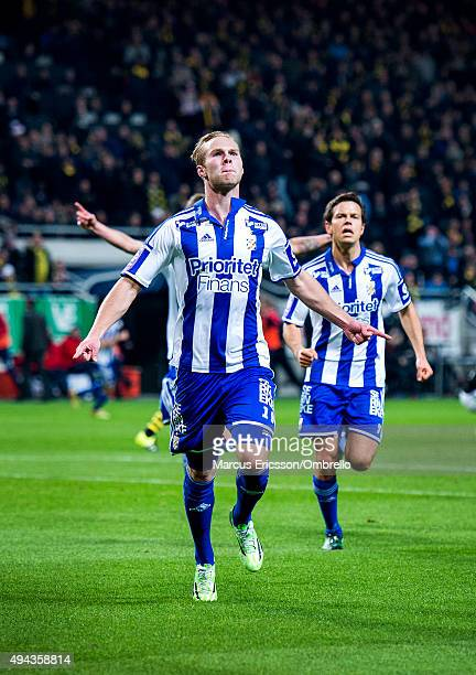 Gustav Engvall of Goteborg celebrates his first goal during the Allsvenskan match between AIK and IFK Goteborg at Friends arena on October 26 2015 in...