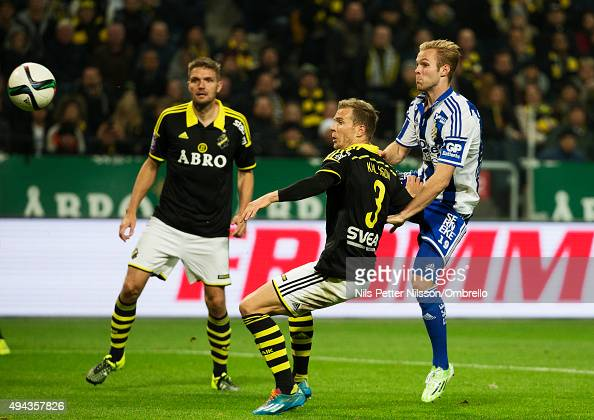 Gustav Engvall scores 12 during the Allsvenskan match between AIK and IFK Goteborg at the Friends arena on October 26 2015 in Solna Sweden