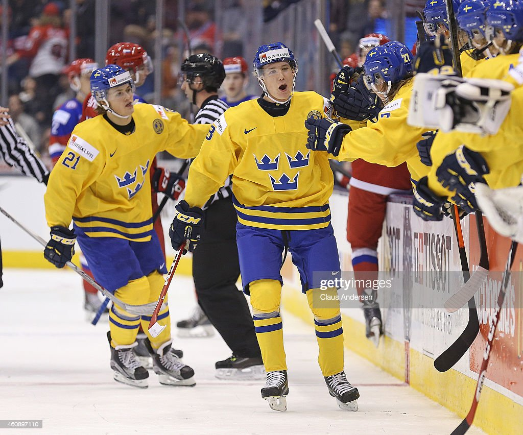 Gustav Forsling of Team Sweden celebrates a goal against Team Russia in a 2015 IIHF World Junior Championship game at the Air Canada Centre on...