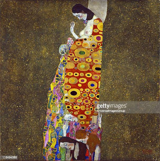 Gustav Klimt Austrian artist Hope II Oil gold and platinum on canvas 1908