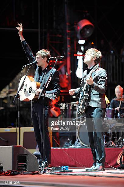 Gustav Noren and Bjorn Dixgard of Mando Diao perform on stage during the first day of Rock Am Ring on June 03 2011 in Nuerburg Germany