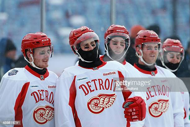Gustav Nyquist Drew Miller Joakim Andersson Daniel Cleary and Danny DeKeyser of the Detroit Red Wings look on during 2014 Bridgestone NHL Winter...