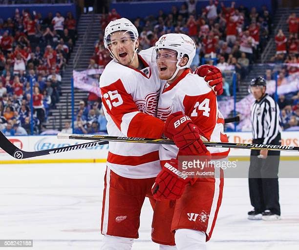 Gustav Nyquist of the Detroit Red Wings celebrates his goal with teammate Danny DeKeyser during the second period against the Tampa Bay Lightning at...