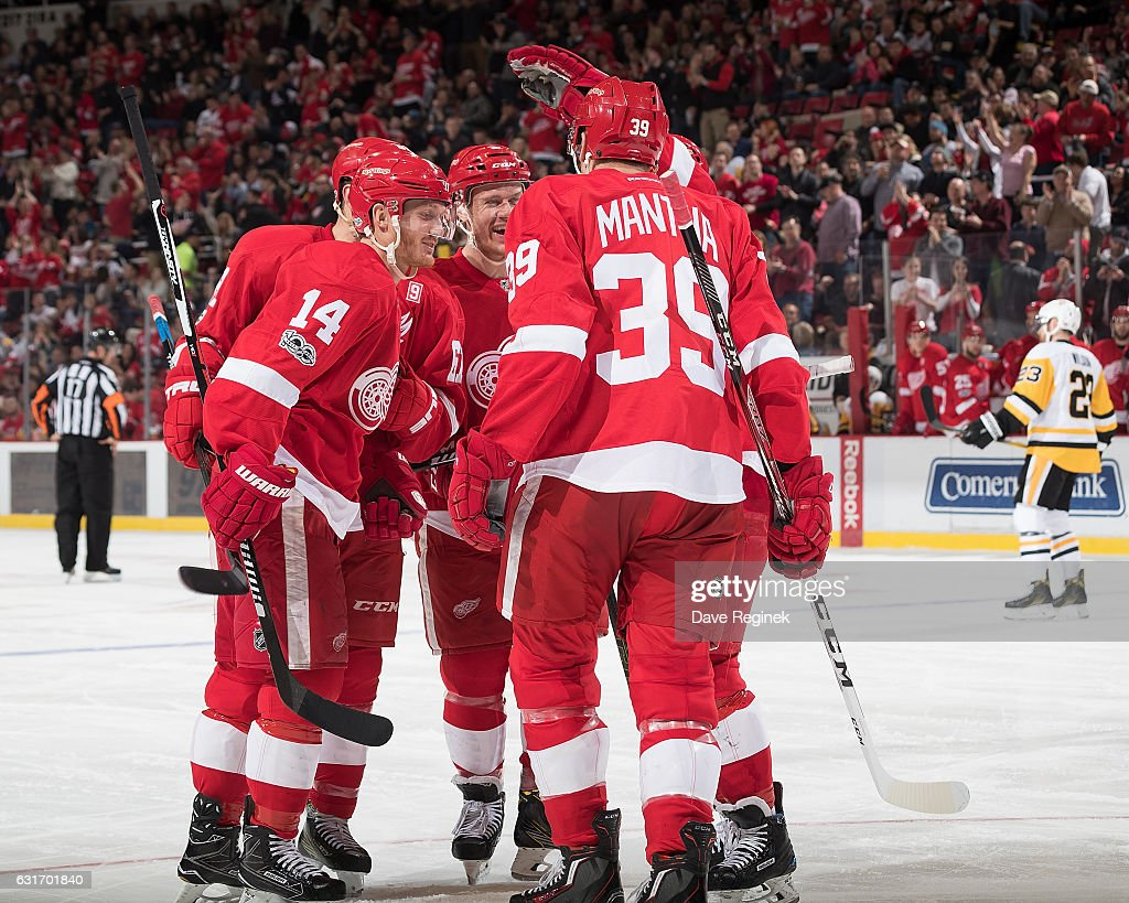 Gustav Nyquist #14 of the Detroit Red Wings celebrates his goal with teammates Anthony Mantha #39, Thomas Vanek #62 and Nick Jensen #3 during an NHL game against the Pittsburgh Penguins at Joe Louis Arena on January 14, 2017 in Detroit, Michigan.