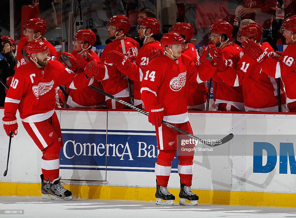 <a gi-track='captionPersonalityLinkClicked' href=/galleries/search?phrase=Gustav+Nyquist&family=editorial&specificpeople=5491209 ng-click='$event.stopPropagation()'>Gustav Nyquist</a> #14 of the Detroit Red Wings celebrates his third-period goal with teammates against the Washington Capitals at Joe Louis Arena on January 31, 2014 in Detroit, Michigan. Detroit won in a 4-3 in a shootout.