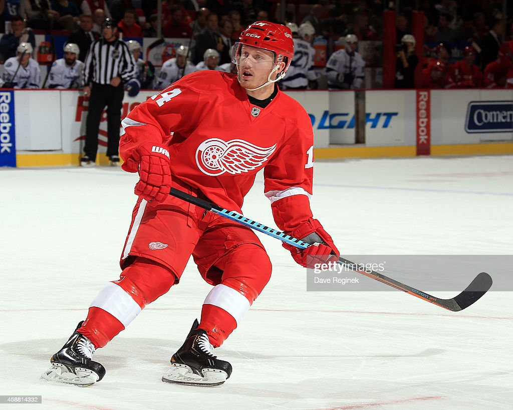 Gustav Nyquist of the Detroit Red Wings follows the play against the Tampa Bay Lightning during a NHL game on November 9 2014 at Joe Louis Arena in...