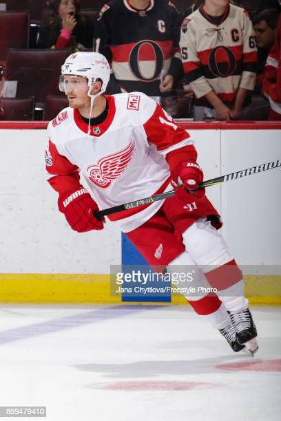Gustav Nyquist of the Detroit Red Wings skates during warmups prior to a game against the Ottawa Senators at Canadian Tire Centre on October 7 2017...