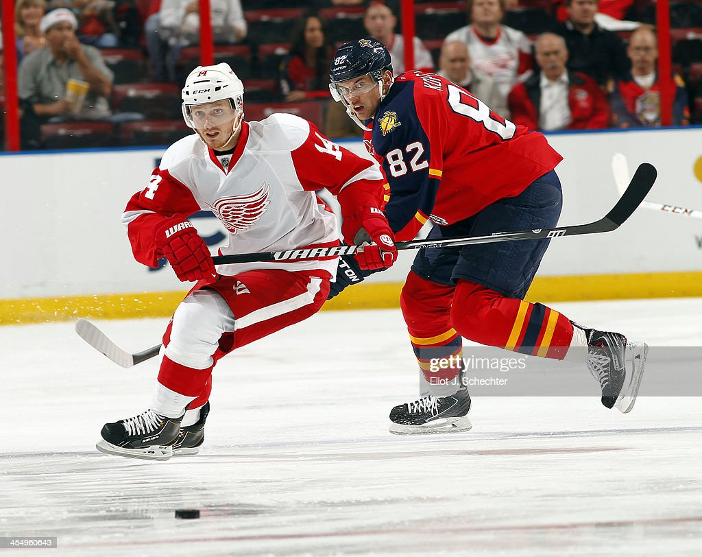 Gustav Nyquist #14 of the Detroit Red Wings skates for possession against Tomas Kopecky #82 of the Florida Panthers at the BB&T Center on December 10, 2013 in Sunrise, Florida.