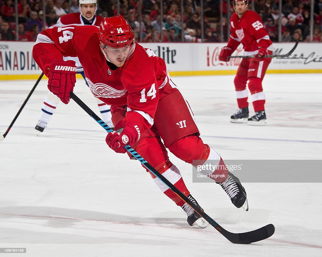 Gustav Nyquist of the Detroit Red Wings skates up ice with the puck against the Montreal Canadiens during a NHL game on November 16 2014 at Joe Louis...