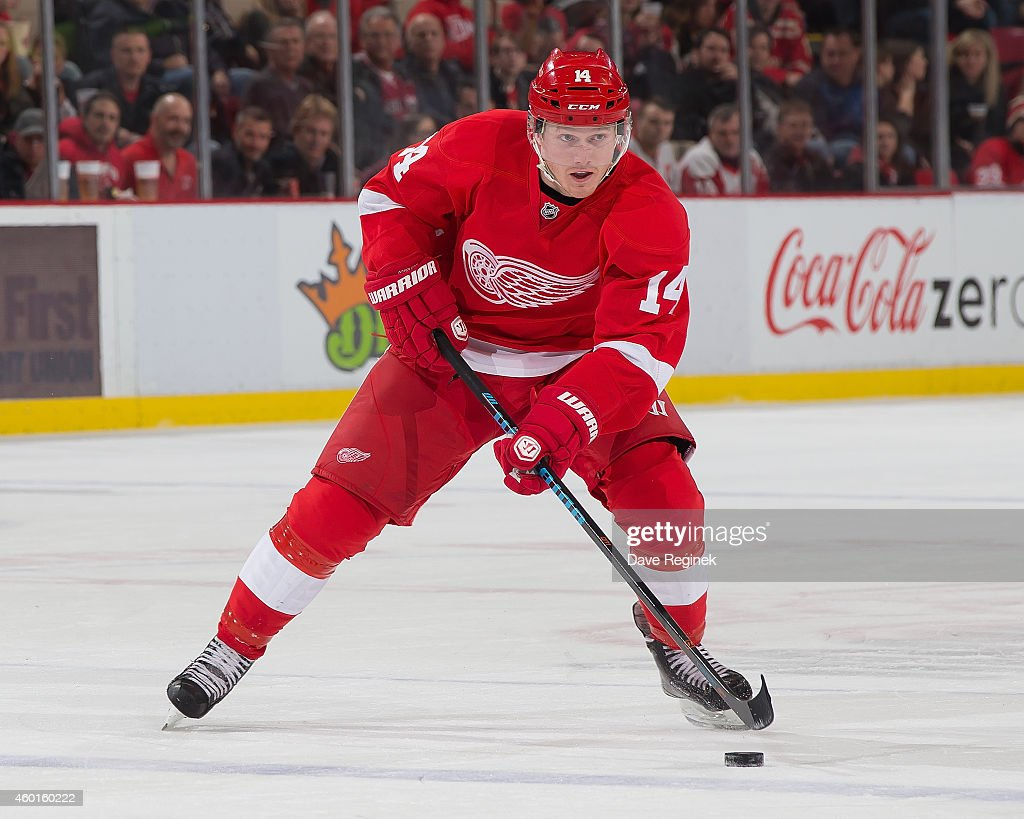 Gustav Nyquist of the Detroit Red Wings skates up ice with the puck during a NHL game against the Dallas Stars on December 4 2014 at Joe Louis Arena...