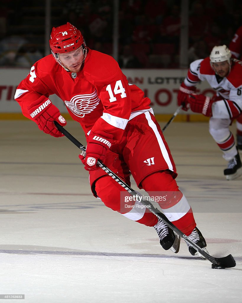 <a gi-track='captionPersonalityLinkClicked' href=/galleries/search?phrase=Gustav+Nyquist&family=editorial&specificpeople=5491209 ng-click='$event.stopPropagation()'>Gustav Nyquist</a> #14 of the Detroit Red Wings skates with the puck during an NHL game against the Carolina Hurricanes at Joe Louis Arena on November 21, 2013 in Detroit, Michigan. Detroit defeated Carolina 4-3