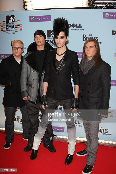 Gustav Schaefer Tom Kaulitz Bill Kaulitz and Georg Listing of Tokio Hotel arrive for the 2009 MTV Europe Music Awards held at the O2 Arena on...