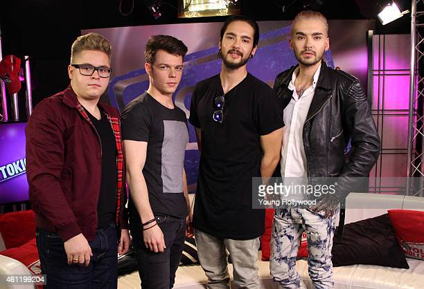 Gustav Schafer Georg Listing Tom Kaulitz and Bill Kaulitz from the band Tokio Hotel visit the Young Hollywood Studio on January 8 2015 in Los Angeles...
