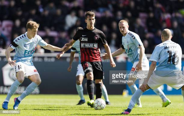 Gustav Wikheim of FC Midtjylland controls the ball during the Danish Alka Superliga match between FC Midtjylland and Sonderjyske at MCH Arena on...