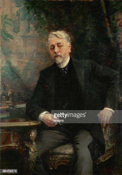 Gustave Eiffel engineer built the Eiffeltower in Paris Canvas1905 By Aime Morot Musee National du Chateau Versailles France [Gustave Eiffel Ingenieur...