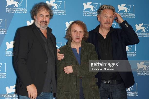 Gustave Kervern Michel Houellebecq and Benoit Delepine attend the 'Near Death Experience' Photocall during the 71st Venice Film Festival at Palazzo...