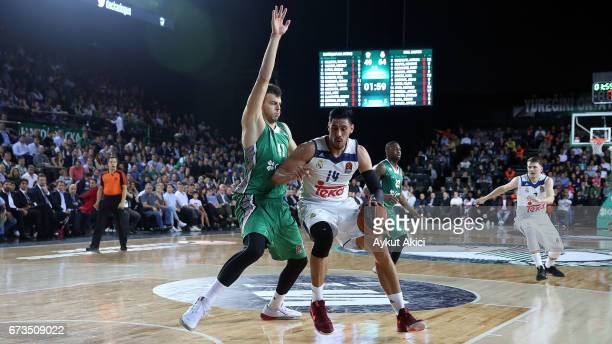 Gustavo Ayon #14 of Real Madrid in action during the 2016/2017 Turkish Airlines EuroLeague Playoffs leg 3 game between Darussafaka Dogus Istanbul v...