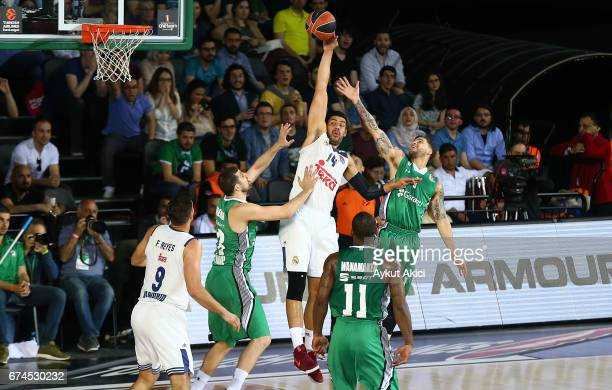 Gustavo Ayon #14 of Real Madrid in action during the 2016/2017 Turkish Airlines EuroLeague Playoffs leg 4 game between Darussafaka Dogus Istanbul v...
