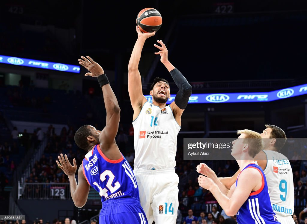 Gustavo Ayon, #14 of Real Madrid in action during the 2017/2018 Turkish Airlines EuroLeague Regular Season Round 1 game between Anadolu Efes Istanbul v Real Madrid at Sinan Erdem Dome on October 12, 2017 in Istanbul, Turkey.