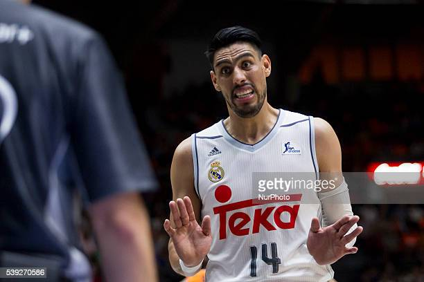 14 Gustavo Ayon of Real Madrid Basket during Endesa league basketball in fourth semifinals match between Valencia Basket and Real Madrid Basket...