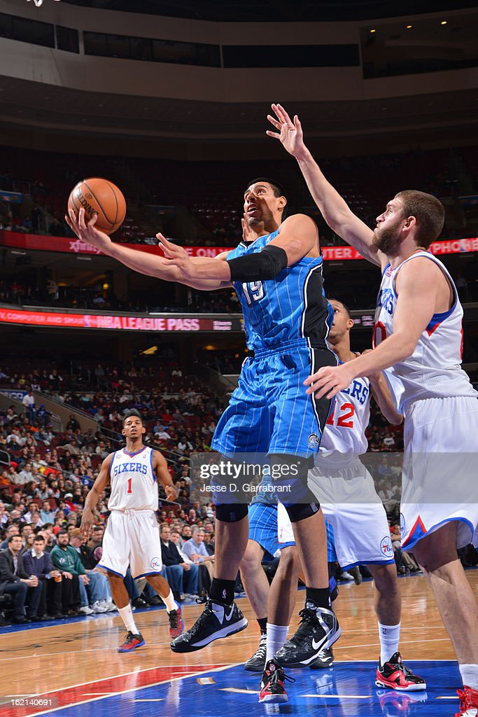 <a gi-track='captionPersonalityLinkClicked' href=/galleries/search?phrase=Gustavo+Ayon&family=editorial&specificpeople=4474343 ng-click='$event.stopPropagation()'>Gustavo Ayon</a> #19 of the Orlando Magic drives to the basket against the Philadelphia 76ers at the Wells Fargo Center on February 4, 2013 in Philadelphia, Pennsylvania.