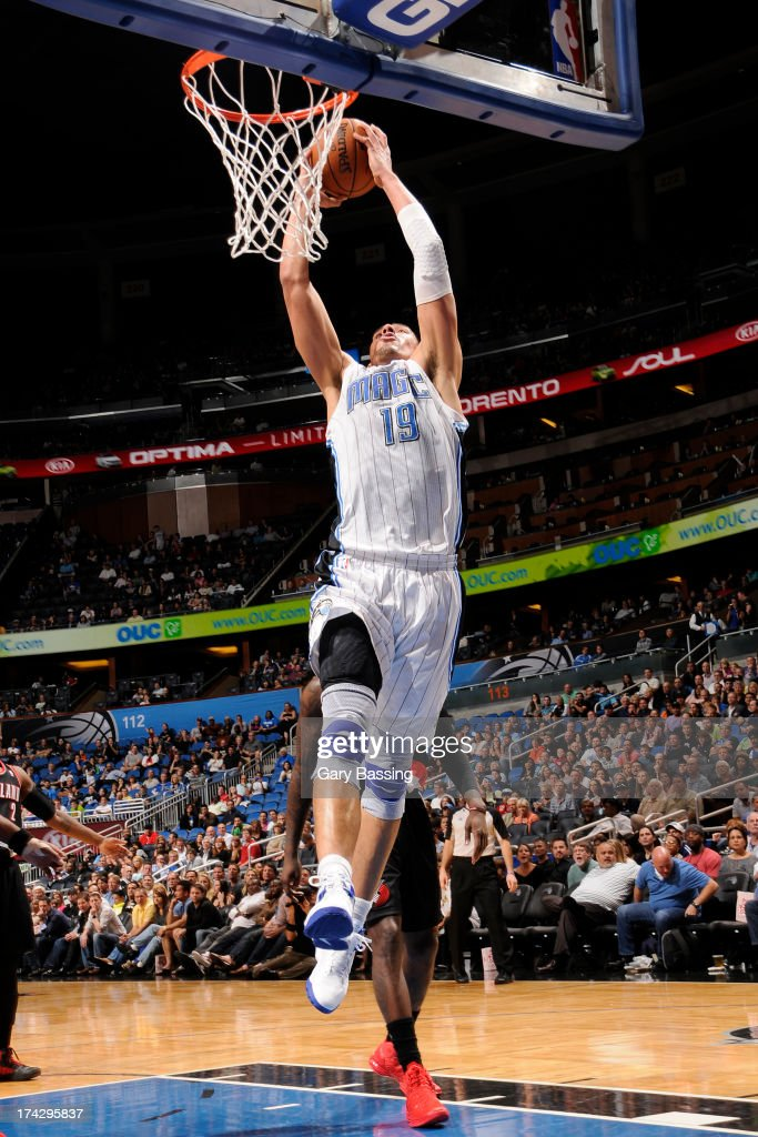 Gustavo Ayon #19 of the Orlando Magic dunks against the Portland Trail Blazers during the game on February 10, 2013 at Amway Center in Orlando, Florida.
