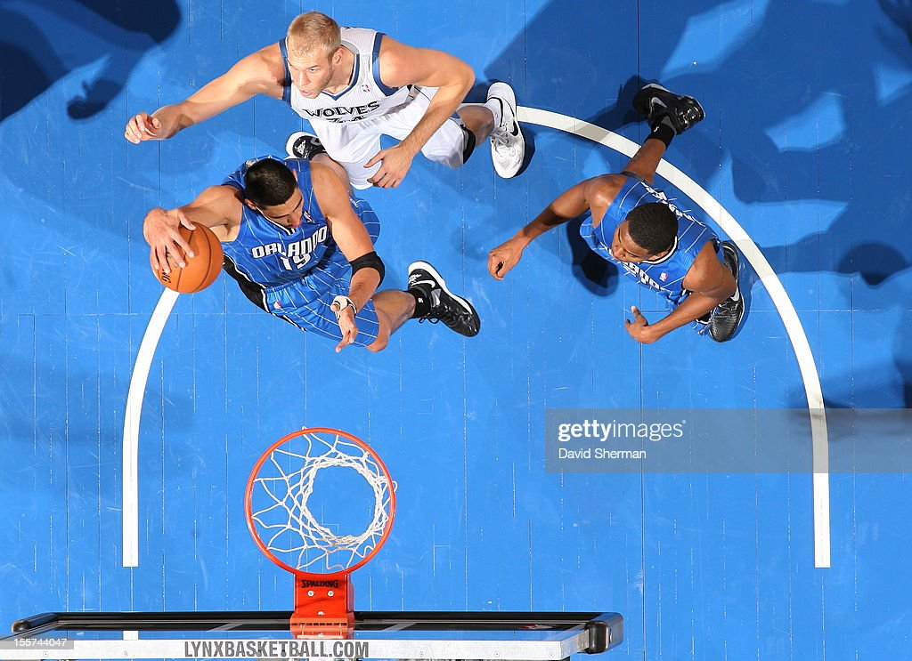 <a gi-track='captionPersonalityLinkClicked' href=/galleries/search?phrase=Gustavo+Ayon&family=editorial&specificpeople=4474343 ng-click='$event.stopPropagation()'>Gustavo Ayon</a> #19 of the Orlando Magic goes to the basket against <a gi-track='captionPersonalityLinkClicked' href=/galleries/search?phrase=Greg+Stiemsma&family=editorial&specificpeople=2098297 ng-click='$event.stopPropagation()'>Greg Stiemsma</a> #34 of the Minnesota Timberwolves during the game between the Minnesota Timberwolves and the Orlando Magic on November 7, 2012 at Target Center in Minneapolis, Minnesota.