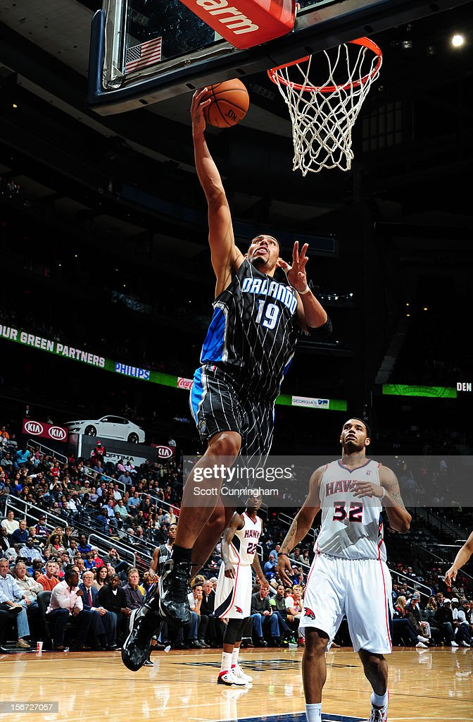 Gustavo Ayon #19 of the Orlando Magic goes to the basket during the game between the Atlanta Hawks and the Orlando Magic at Philips Arena on November 19, 2012 in Atlanta, Georgia.